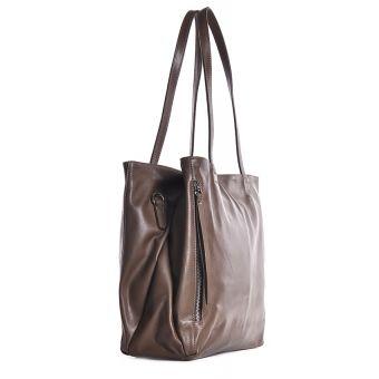 Włoska torebka ze skóry beżowa