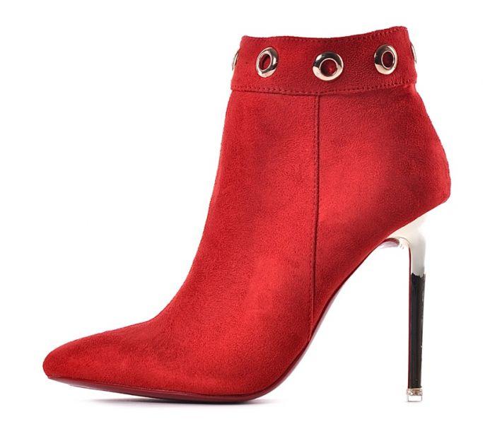 Czerwone botki damskie na szpilce