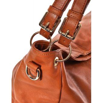 Włoska torebka damska ze skóry jasnobrązowa
