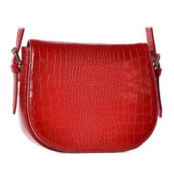 Czerwona torebka listonoszka ze skóry