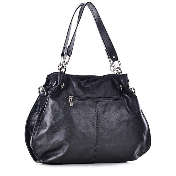 Średnia torebka damska skórzana czarna