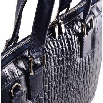 Skórzana torba damska na laptopa granatowa