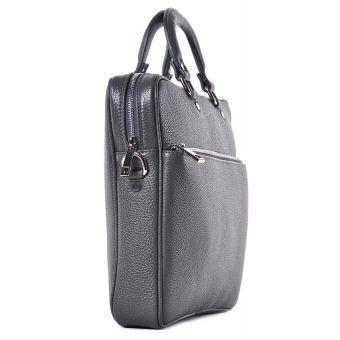 Szara torba skórzana na laptopa