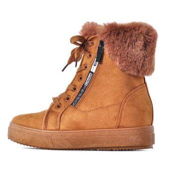 Zimowe buty damskie na koturnie brązowe