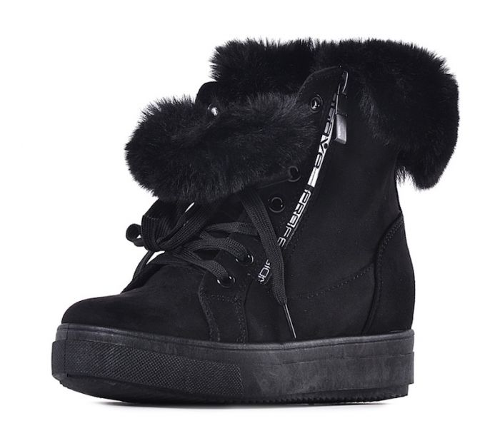Sneakersy damskie na koturnie czarne