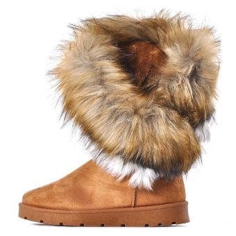Śniegowce damskie z futerkiem brązowe eskimoski