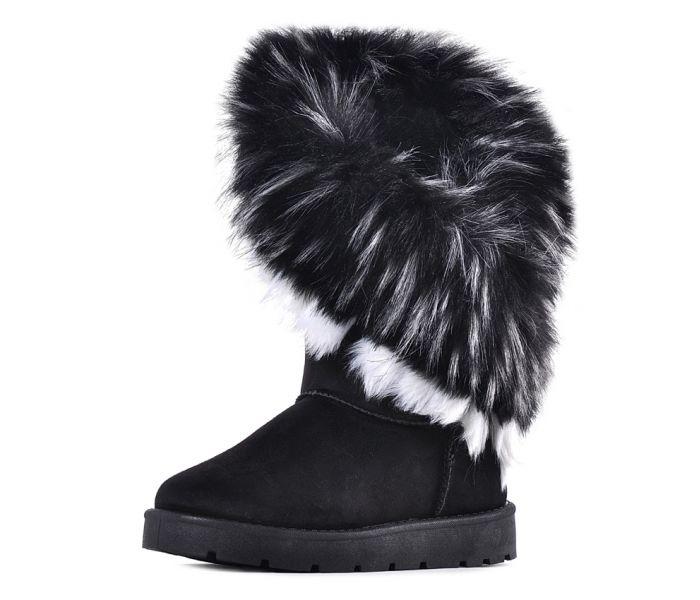 Czarne śniegowce damskie z futerkiem