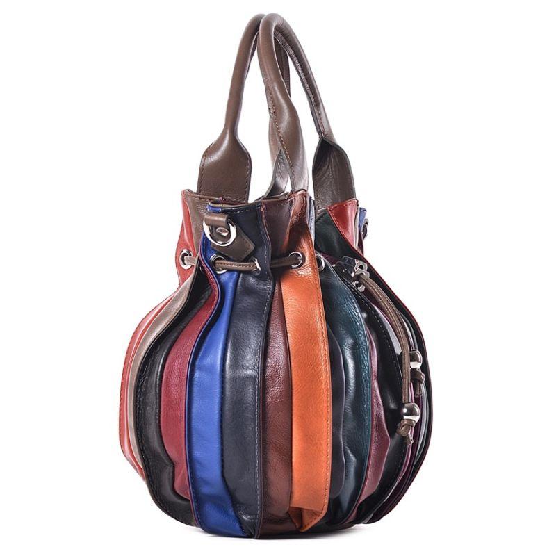 112a38fb4 ... Kolorowa skórzana torba na ramię ...