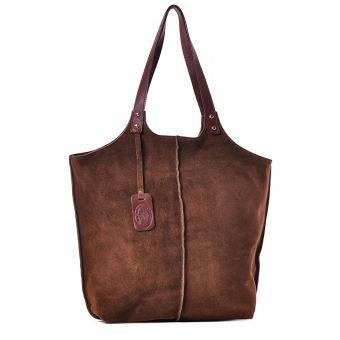 Damska torebka worek na ramię brązowa