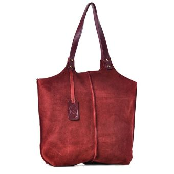 Bordowa torebka damska zamszowa