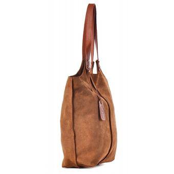 Duża torba damska worek brązowa