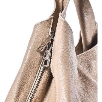 Beżowa torba damska ze skóry
