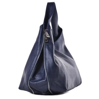 Granatowa torba damska ze skóry