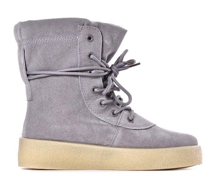 Buty damskie z wysoką cholewką szare