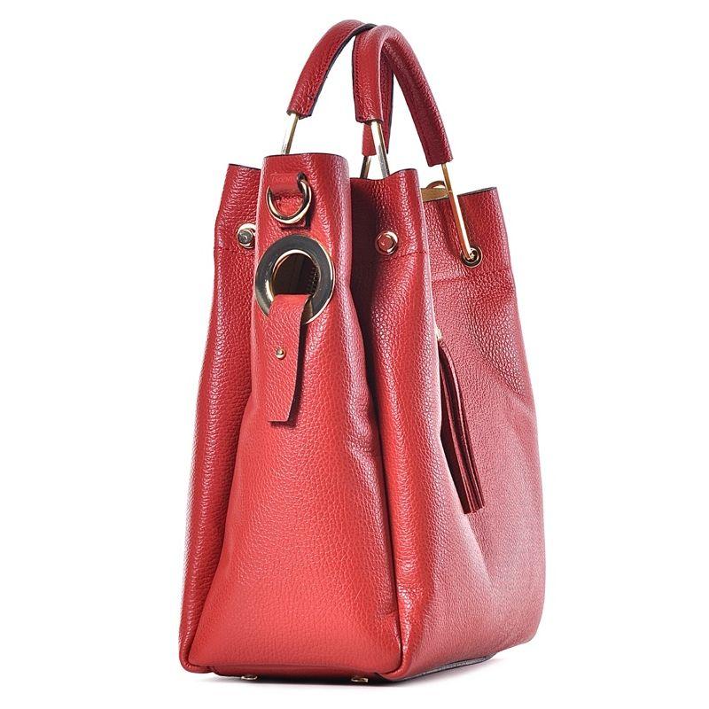 fe0bb038c2b96 Elegancka czerwona torebka skórzana