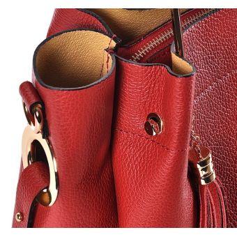 Elegancka czerwona torebka skórzana