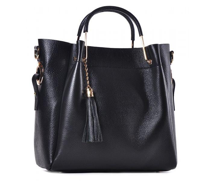 6b86f4a0 Wizytowa torebka damska czarna z frędzlami