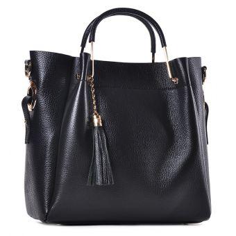 Wizytowa torebka damska czarna z frędzlami