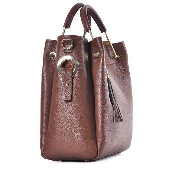Elegancka torba damska ze skóry brązowa