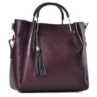 Skórzana torba damska bordowa