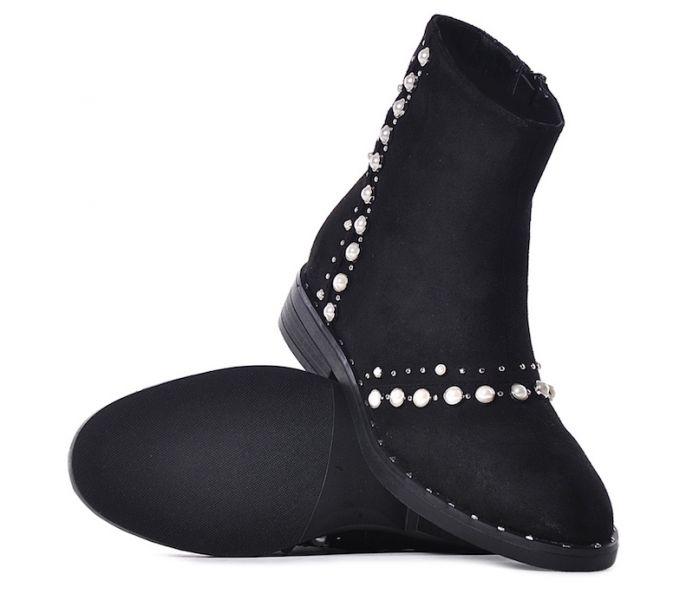 Czarne sztyblety damskie z perełkami