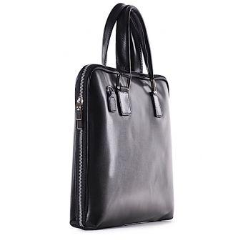 Czarna elegancka torba skórzana na dokumenty