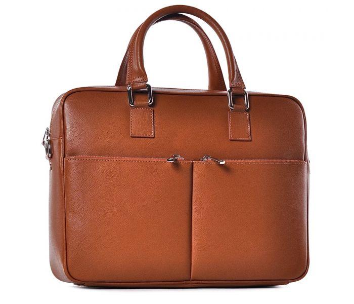 cad90dd784060 Elegancka skórzana torba na laptopa brązowa
