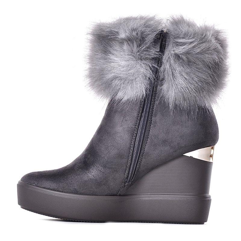 972e7dbd73f91 Stylowe szare botki na koturnie z zamszu zimowe buty