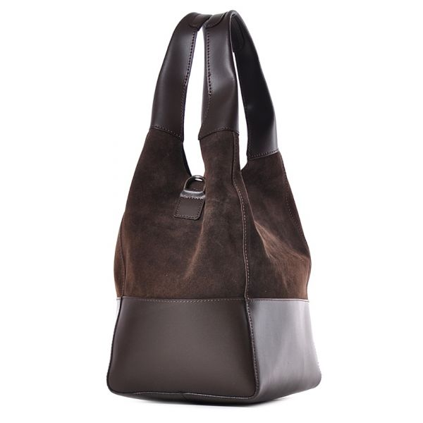 Damska skórzana torba worek na ramię