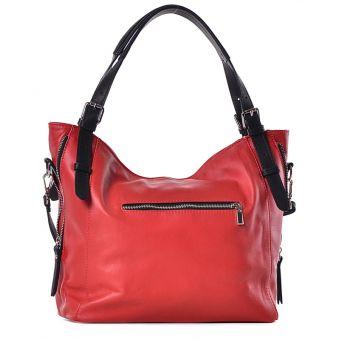 Czerwona torebka damska ze skóry na ramię