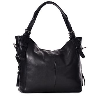 Duża torba skórzana damska czarna