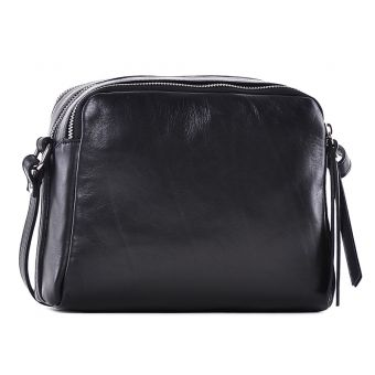 Czarna torba listonoszka skórzana