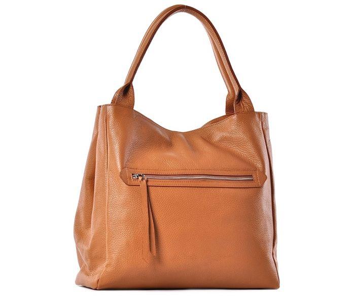 0554b6754e202 Duża torba na ramię damska skórzana brązowa