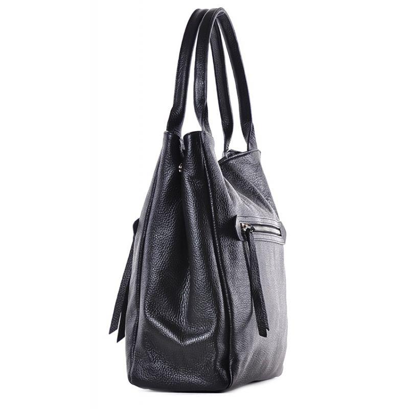 fe1a91a840616 Elegancka skórzana torebka damska do pracy czarna