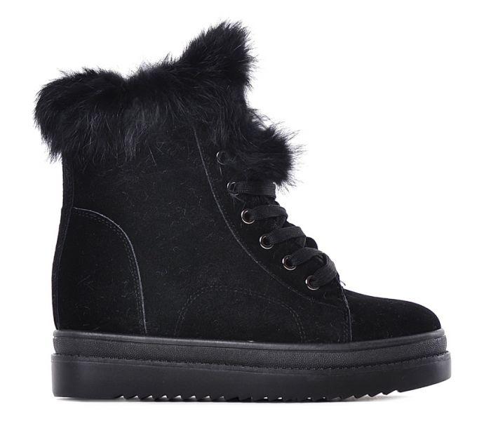 5601502f Czarne botki damskie na koturnie buty na zimę sznurowane