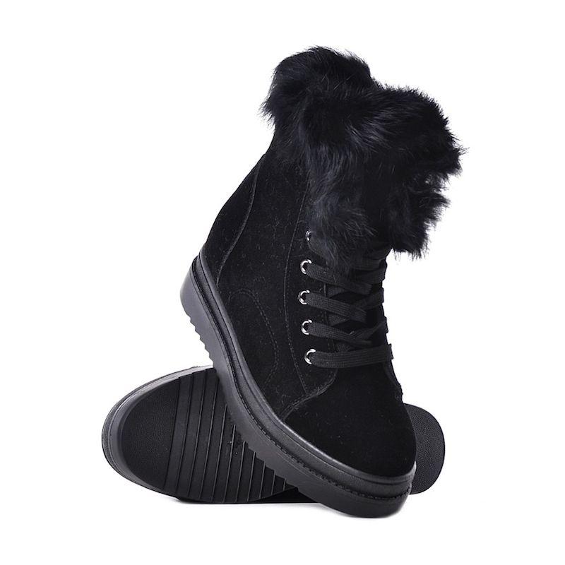 08619fe0333ac Czarne botki damskie na koturnie buty na zimę sznurowane