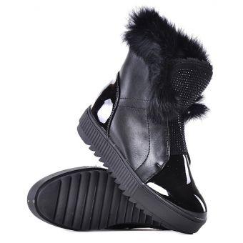Czarne botki zimowe z futerkiem