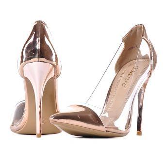 Złote buty damskie na obcasie