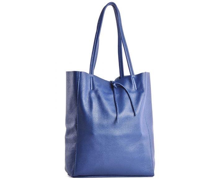 67c607375dbb1 Damska torebka skórzana worek a4 na ramię niebieska