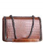 Elegancka damska torebka skórzana lakierowana na łańcuszku