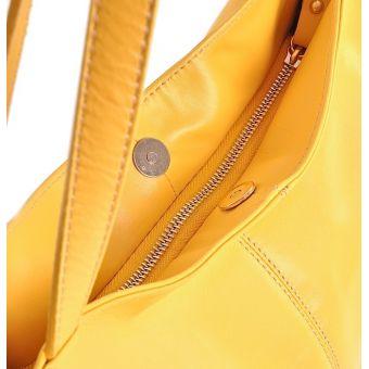 Skórzana torebka damska żółta