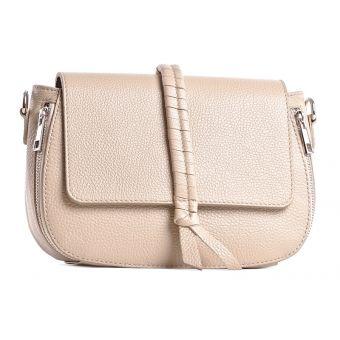 Skórzana torebka listonoszka beżowa