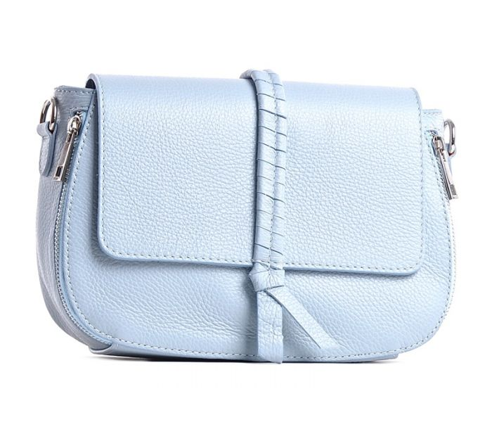 ca5eb812b063e Włoska torebka listonoszka skórzana niebieska