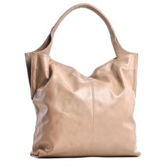 Włoska beżowa torebka skórzana damska na wiosnę