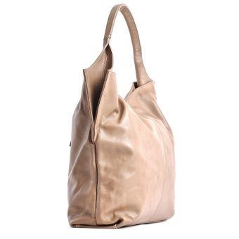 Włoska torebka beżowa skóra