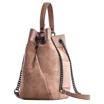 Zamszowa torba damska worek beżowa