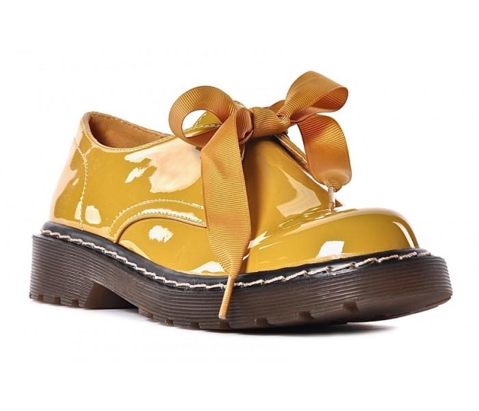Żółte glany damskie wiązane