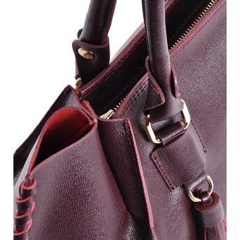 Bordowa torebka damska kuferek z frędzlami elegancka