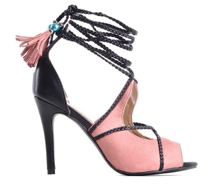 Eleganckie czarne sandały damskie na srebrnym słupku