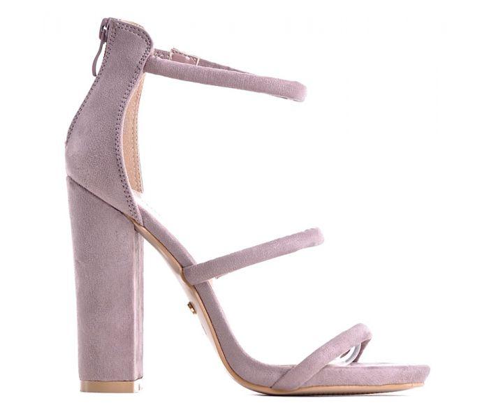 Eleganckie sandały damskie nude na niskiej szpilce